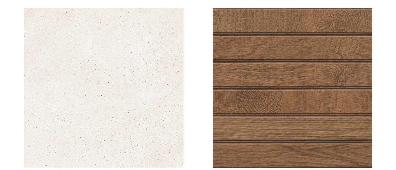 Porcelanosa's Bottega Caliza and Oxford Liston Cognac tiles