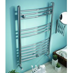 K Curved Chrome Heated Towel Rail