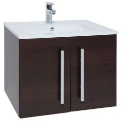 Purity Brown 600mm Wall Mounted Door Unit With Basin