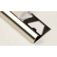 Brushed Stainless Steel Round Edge Tile Trim 2.5m